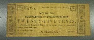 1861 25c Corporation of Fredericksburg Virginia