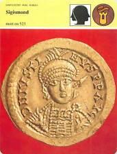FICHE CARD Monnaie de Sigismond Mort en 523 roi des Burgondes  France 90s