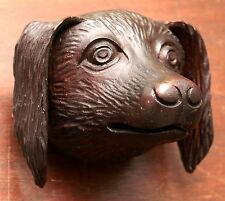 "Part- 19th c Renaissance Victorian carved dog head, walnut, 4""w"