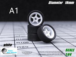 1/64 Scale Wheels & Tire - Custom Hot Wheels, Matchbox,Tomy, Rubber Tires
