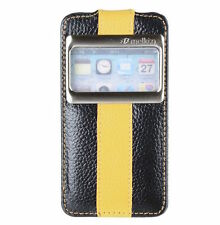 Genuine MELKCO Leather Case for Apple iPhone 4/4S-FLIP ID BLACK/YELLOW O14890