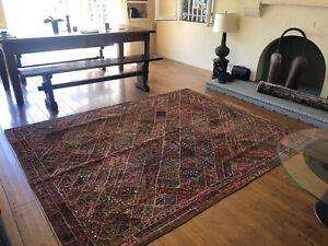 "Handmade Rug Tapestry from Vintage Embroidered Kutchi Banjara Textile 8' x 6'.5"""