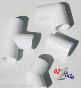 21.5mm Overflow Pipe Fittings Elbow,Bend,Tee,Coupling–White PK of2,5,10,15,20 SB