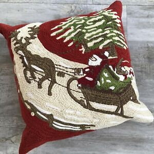 "Pottery Barn Santa Sleigh Crewel Pillow 18"" Sq Christmas Xmas Down Filled Insert"