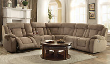 AUSTIN - Modern 6pcs Taupe Fabric Reclining Sofa Couch Sectional Set Living Room