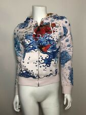 Ed Hardy Zip Up Hoodie in Off White Size XS