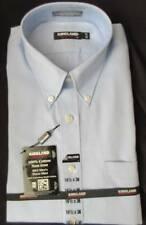 NWT 16 1/2 X 36 Men's Non-Iron Kirkland Dress Shirt Button-down Blue Cotton