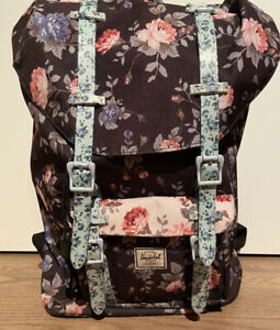 RAR Herschel Little America Rucksack Backpack Blumen floral schwarz