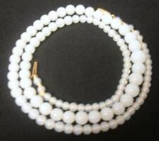 Antique Chinese CHILD White Stone Beads 14k Gold  Clasp