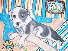American Pit Bull Terrier Playing Puppy Art Print 8x10 Dog Collectible Signed
