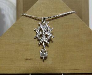 girocollo 40 veneziana -CROCE UGONOTTA-CROCE VALDESE argento 925 Sterling silver