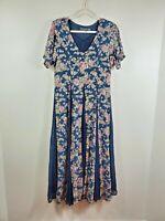 NOSTALGIA womens size M blue pink floral short sleeved vintage 90s grunge dress