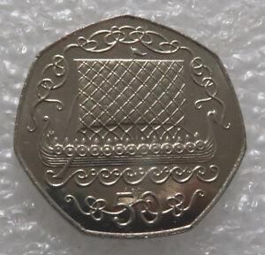 Isle of Man 50 Pence Coin 1983 VIKING LONG BOAT