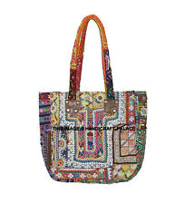 Vintage Kutchi Indian Hand-made Leather Bag Tote Boho Ethnic Chic Shoulder Bag