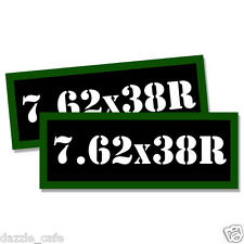 """7.62 X 38R Ammo Can 2x Labels Ammunition Case 3""""x1.15"""" stickers decals 2 pack"""