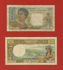 LOT DE 2 BILLETS DE NOUVELLE CALÉDONIE -  NOUMÉA - 20 Francs et 100 Francs