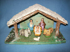 VINTAGE MADE IN ITALY 6 Pc CHALKWARE NATIVITY SET w/RUSTIC WOODEN CRECHE~STABLE