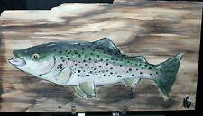 "Hand Painted Stone Slab, Petrified Wood, Rainbow Trout - 10x5.5"" - 1lb. slab"
