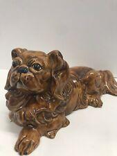 Pekingese Ceramic Dog Figurine Brown Puppy 12� Long Handmade Signed Glazed