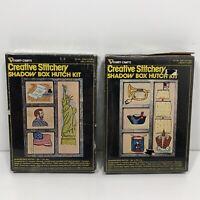 2 Vtg Vogart Crafts Creative Stitchery Shadow Box Hutch Kits Patriotic Themed
