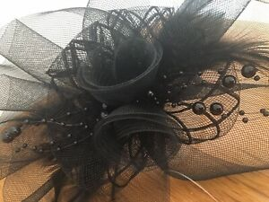 Large Black Headband Fascinator Church Hat Wedding Ladies Day Races Garden Party