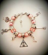 Harry Potter Inspired Women's Dangle Charm BRACELET Pink Beads With Pillow Box