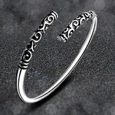 Boho Vintage Women 925 Silver Plated Carved Cudgel Open Cuff Bangle Bracelet