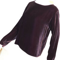 Eileen Fisher Womans Velvet Blouse Size M Medium Plum Purple Long Sleeve Box Top
