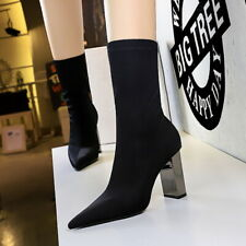 Women Boots Mid-calf Pointed Toe Block Heels Lycra Stretch  Ankle Pull Up Shoes
