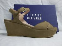 Stuart Weitzman Size 8.5 M Lockness Tan Leather Open Toe Wedges New Womens Shoes