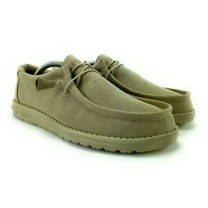 Hey Dude Men's Wally Beige Lace Up Casual Loafers Sizes 7 - 14 M