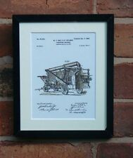 USA Patent Drawing vintage THRESHING MACHINE research farm MOUNTED PRINT 1898