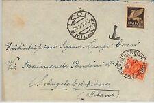 ITALIA REGNO storia postale: BUSTA con francobollo POSTA AEREA - TASSATA! 1943