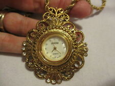 "ZERONE Goldtone & Rhinestones Pendant Watch on a 30"" Cable Chain 2 1/2"" Pendant"