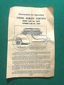 1950 INSTRUCTIONS FOR OPERATING LIONEL REMOTE CONTROL DUMP & LUMBER CARS