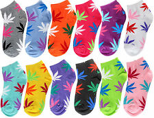 12 Pairs Dozen Womens Marijuana Weed Leaf Low Cut Ankle Cotton Socks Size 9-11