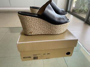 Michael Kors Cunningham Wedge Heels Slippers Sandals White Leather US 9 Women's