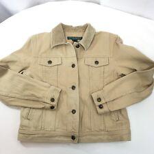 Ralph Lauren LRL Women's Trucker Jacket Tan Denim Corduroy Collar Sz Petite Med