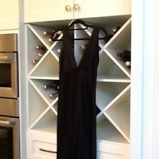 Vintage Abs Size 4 Black Satin Stunning Formal Gown Plunging Liz Taylor Front