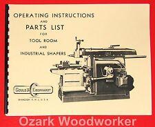 GOULD & EBERHARDT Tool Room Industrial Metal Shaper Instruction Part Manual 1000