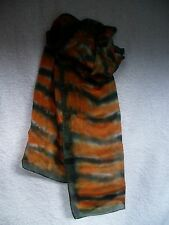 Silk Chiffon Long Scarf - Red/Black design - hand painted & unique - Great Gift