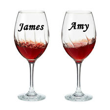 2 X PERSONALISED NAME Wine Glass Sticker Wedding Art Valentines Day Made in UK