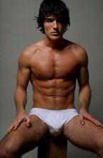 Shirtless Male Shaggy Hair Ripped Muscular Hairy Legs Briefs Hunk PHOTO 4X6 D654