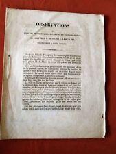 DIJON 1843- OBSERVATIONS de l'un des propriétaires riverains du Cours de Suzon