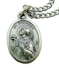 "St. Stephen Patron Saint Metal 3/4"" Italy Medal w/ Chain Pendant Necklace"