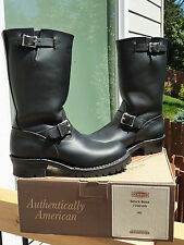 "New Wesco Boss Black Leather Engineer Boots with ""Bump""/ ""Bubble Toe"" - size 9D"