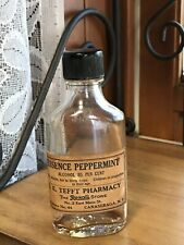 Antique Rexall Bottle Essence Peppermint 85% Alcohol Canarsaga Ny