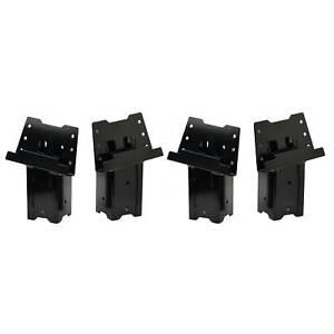 HME 4 x 4 Wood Post Elevated Hunting Blind Steel Post Brackets, Black (4 Pack)