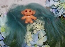 "Vintage C64 Hard Bodied Dam Troll - All Original - Petite 2 1/4"" - Pretty Hair"