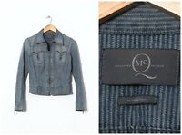 Women's ALEXANDER McQUEEN Denim Jeans Full Zip Jacket Blue Size IT 40 US 4 UK 8